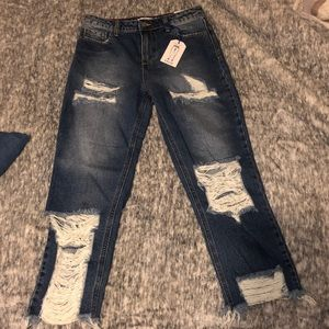 Straight leg, ripped jeans